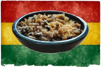 waakye rice beans and spaghetti from ghana
